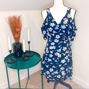 Miami Navy Floral Cold Shoulder Wrap Dress Small